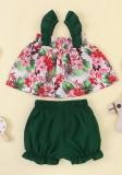 Kids Girl Summer Straps Top floral y short liso
