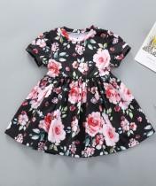 Kinder Mädchen Sommer Blumen schwarz Kleid