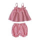 Kinder Mädchen Sommer Plaid Shorts Set