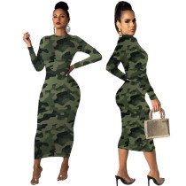 Camou Print Long Sleeve Sexy Midi Dress
