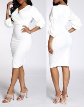 White Elegant Wrap Midi Dress with Sleeves