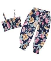 Set di pantaloni floreali estivi per bambina