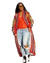 Imprimir colorido abrigo largo africano