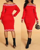 Print Red Off Shoulder Midi Dress