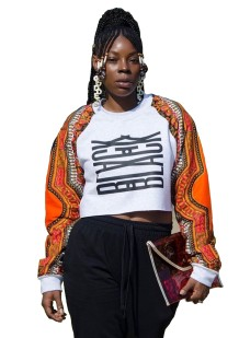 Kollu Dashiki Crop Top Yazdır