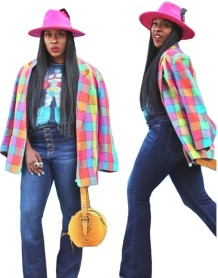 Colorful Check African Blazer with Sleeves