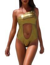 Metallic-Badebekleidung mit einer Schulterausschnitt