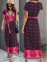 Летнее длинное платье с V-образным вырезом с цветочным принтом