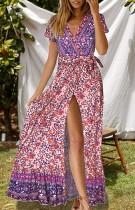 Vestido largo con cuello en V floral y verano
