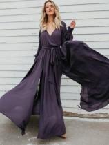 Элегантное платье макси с V-образным вырезом и рукавами