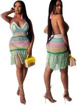 Vestido de playa con borlas de ganchillo sin espalda sexy
