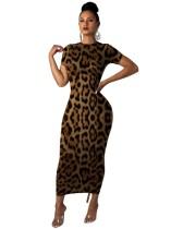 Abito midi estivo sexy con stampa leopardo