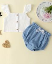 Baby Girl Summer White Top und blaue Shorts