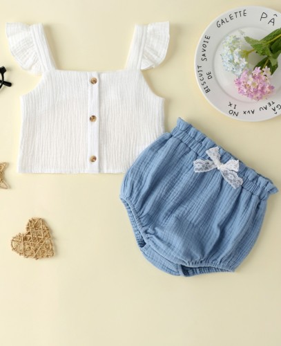 Pantaloncini top e blu bianchi estivi per bambina
