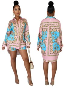 Print African Long Sleeve High Low Blouse