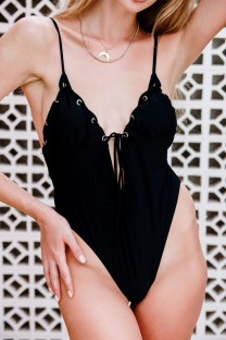 Black High Cut Straps One Piece Swimwear