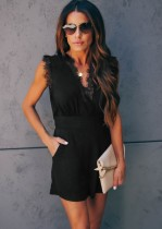 Black V-Neck Sleeveless Casual Rompers