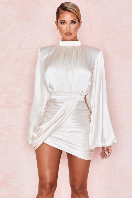 White Ruched Mini Dress with Pop Sleeves