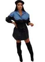 Vestido casual blusa con cordón y mangas en contraste