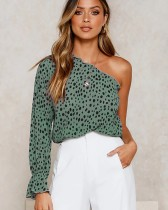 Leopard Print Crop Top with Single Sleeve