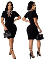 Vestido ajustado de manga corta negro