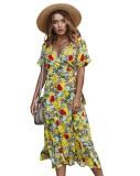 Vestido largo de manga corta con estampado floral