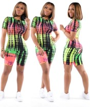 Print Colorful Sexy Two Piece Shorts Set