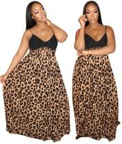 Abito lungo con spalline a vita alta stampa leopardo