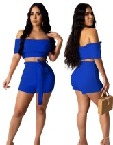 Sexy Solid Color Two Piece Shorts Set