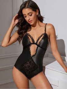 Sexy Black Cut Out Teddy Dessous