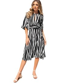 Print A-line Elegant Dress with Half Sleeves