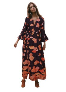 Print Floral Maxi Dress with Wide Cuffs