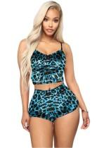 Conjunto corto de dos piezas sexy con estampado de leopardo