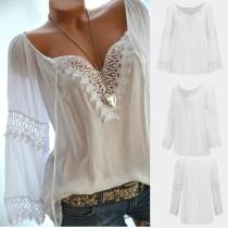 Zomer witte gehaakte blouse