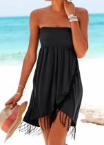 Vestido de playa sin tirantes sexy negro