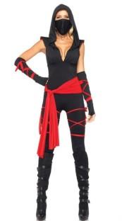 Zwart en rood sexy jumpsuit kostuum voor vrouwen
