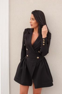 Черное элегантное платье-пиджак с рукавами
