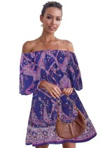 Summer Off the Shoulder Print Retro-Kleid