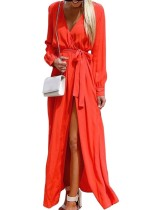 Plain Color Wrap Maxi Dress with Sleeves