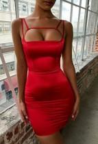 Abito da sera con cinturini tagliati sexy rosso