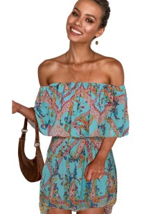 Summer Off the Shoulder Print Retro Dress