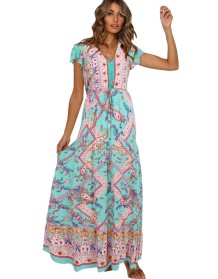 Summer Print Retro V-Neck Long Dress