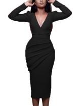 Effen kleur Deep-V midi-jurk met mouwen