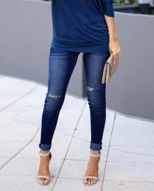 Jeans Ripped Azul Casual