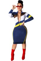 Bodycon midi-jurk met ritssluiting en mouwen