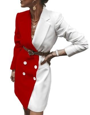 Контрастное платье-пиджак с рукавами