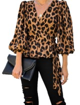 Top con estampado de leopardo y mangas pop