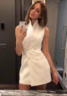 White Sleeveless Blazer Dress