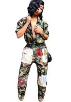 Tuta hippie con stampa camouflage con maniche