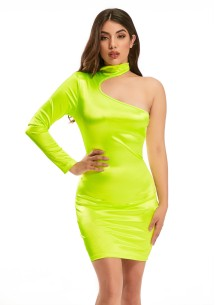 Sexy One Shoulder Neon Partykleid